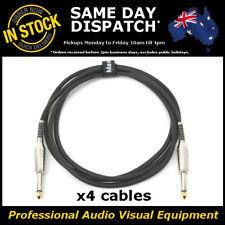 "4x 2M Electric Guitar Cable Cord Noiseless 1/4"" Jack Instrument Lead 2 Metre"
