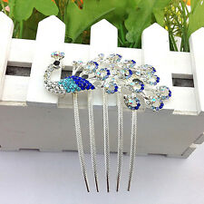 Womens Vintage Peacock Rhinestone Hair Clip Hair Comb Beauty Tool Jewelry Worthy