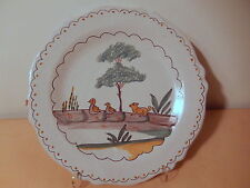 Assiette faience Nevers centre france renard oiseaux XIX 19 siecle