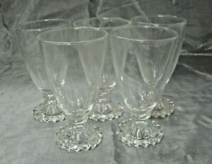 """Anchor Hocking Crystal BOOPIE Clear Set of 5-5 1/2"""" Water Wine Goblets Glasses"""