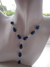 Silver Plated Necklace & Pendant - Royal Blue Crystal Teardrops