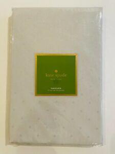 "Kate Spade Larabee dot tablecloth 70"" round COTTON blend,Platinum, gray"
