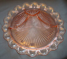"""Vintage Anchor Hocking OLD COLONY Pink Depression 13"""" 4-Part Solid Lace Plate"""