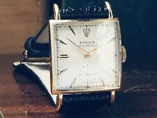 Vintage Rolex ♛ Art Deco Solid Gold 1958 Mens Tank Watch Texture Dial KEEPS TIME