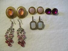 VINTAGE MODERN ESTATE JUNK DRAWER LOT~5 PAIRS MIXED PIERCED EARRINGS~NICE
