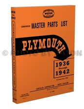 Plymouth Parts Book 1936 1937 1938 1939 1940 1941 1942 Illustrated Part Catalog