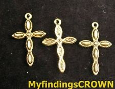 50pcs Atique gold dotted cross charms 29x18mm FC155
