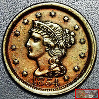 SCARCE 1854 BRAIDED HAIR LARGE CENT UNC,MS w/FULL HEADBAND LIBERTY, HIGH GRADE
