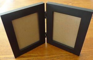 Crate & Barrel Black Wood 2-Picture Hinged Frame for 3.5 x 5 Photos Thailand