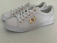 NEW! GUESS MOVER WOMEN'S GOLD LOGO WHITE LEATHER SNEAKERS SHOES 5.5 35.5 SALE