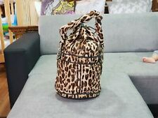 Authentic Fendi Bucket Leopard Print Palazzo Drawstring Brown