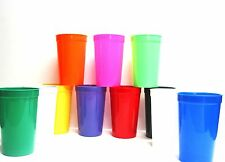 9 Large 20 oz  Plastic Drinking Glasses Mix of Colors Mfg USA Dishwasher Safe