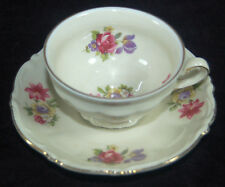 SCHWARZENHAMMER BAVARIA DEMITASSE CUP AND SAUCER - ROSES - GERMANY U.S. ZONE