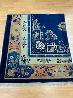 """4'2"""" x 4'7"""" Antique Chinese Art Deco Oriental Rug - 1920s - Hand Made 100% Wool"""