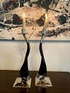"High-quality Alpaca Silver Horn Candle Holder Set of 2 Handmade Candlesticks 12"""