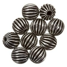 Antique Silver Round Ribbed Focal Spacer Beads 9mm PK10 (B28/1)
