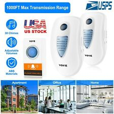 LED 3 Volume 1000FT Wireless Doorbell 38 Chime [2 Plugin Receiver+1 Transmitter]