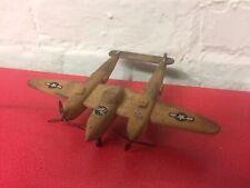Vintage WW2 P38 Lightning Balsa Wood Kit Model Display Airplane Plane