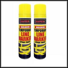 2 x Yellow Temp Line Marking Spray 300m Fast Drying Paint Road Marker Construct