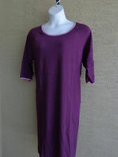 Woman Within  Cotton 3/4 Sleeves A- Line Tee Shirt Dress Plus Size S- 12 Purple