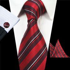 Menwithtie Red Stripe Hombre Corbata Pañuelo gemeDe hombre Corbata que empareja Set Set