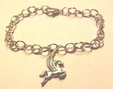 bracelet argenté 19,5 cm cheval ailé pégase 23x17 mm