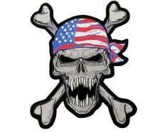 "American Flag Skull & Bones Bandana Rebel Rider Jumbo XL Back Patch 10.1"" x 8"""
