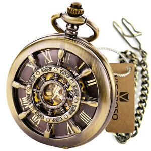 Personalised Mechanical Roman Pocket Watch Groom Wedding Christmas Birthday Gift