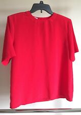 Worthington Womens Petite Red Blouse Short Sleeved size PM Short Sleeved