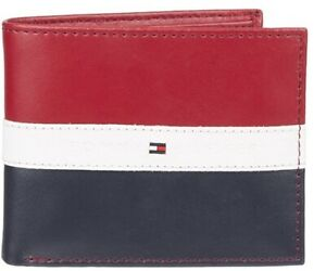 Tommy Hilfiger Men's Leather Americana RED/WHITE/BLUE Passcase Wallet