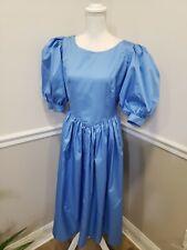 New listing Vintage 80s Taffeta Prom Dress Blue Puff Sleeve Party Womens