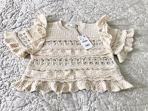 Ladies Zara Combined Knit Short Sleeve Sweater In Ecru S BNWT LAST ONE