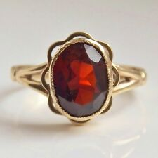 Pretty Vintage 9ct Gold Oval Faceted Garnet set Ring c1935; UK Ring Size 'L'