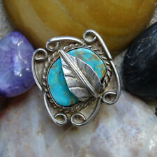 Vintage Navajo Indian Turquoise Ring with Feather Sterling Silver Size 6 1/2