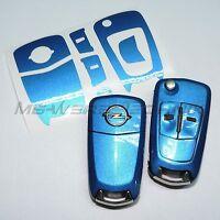 1O_Schlüssel-Dekor Opel Corsa D,Astra H,Zafira B, Vectra blau metallic glänzend