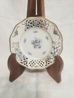 "Schumann Bavaria Forget Me Not Germany Small Plate 5 1/2"" # 45 Gold Rim"