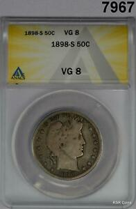 1898 S BARBER HALF DOLLAR ANACS CERTIFIED VG8! #7967