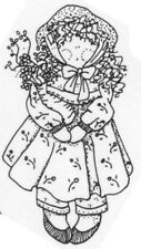 Unmounted Rubber Stamp, Whimsical Stamps, Country Doll, Flowers, Rag Doll, Dolls
