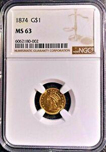 1874 MS-63 NGC Liberty Head Gold $1 Dollar Stunning Rare US Coin