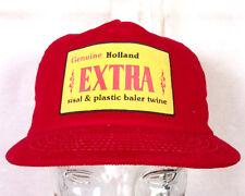 vtg 80s NOS Holland Extra Baler Twine Farmer Trucker Hat Cap corduroy Farm nos
