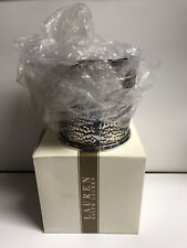 """7.25"""" RALPH LAUREN CROCODILE STAINLESS STEEL ICE BUCKET WITH TONGS AND BOX"""