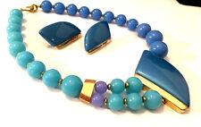 Vtg Trifari SET Blue Gold Lucite Bead Modernist Abstract Design Necklace ii66e