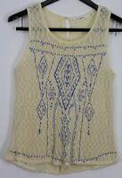 BLU PEPPER Medium Women's Top Sleeveless Lace Semi-Sheer Layering Piece Cream