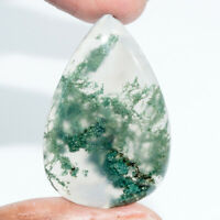 Cts. 50.85 Natural Landscape Moss Agate Pear Cabochon Loose Gemstone