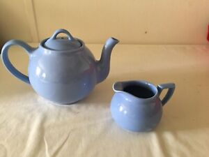 Hall China LIPTONS TEAPOT and CREAMER In Cadet Periwinkle  Blue - Lovely Set