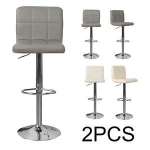 2x Breakfast Bar Stools Cushioned Seat Swivel Gas Lift Foot Rest Kitchen Counter