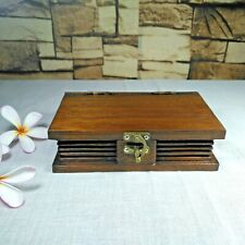 Wooden Small Box Book Shaped Teak Wood Handmade Trinket Storage Collectible Gift