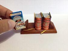 "Poemi Scelti d' Amore macro miniature book Italian 1.40"" tall set of 3 w/ stand"