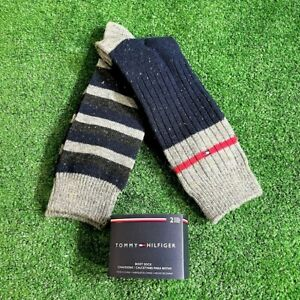 Tommy Hilfiger Men's Two Pairs Set Navy Grey Boot Wool Blend Socks Size 7-12 NEW