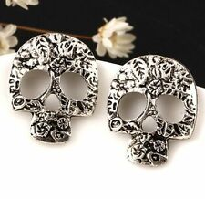FD2626 Vintage Silver Plated Hollow Skull Head Earring Stud ~Halloween Gift~♫